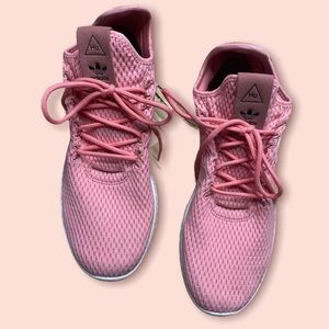 Adidas X Pharell Williams collaboration pink knit sneakers 10 HU tennis shoes